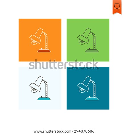 School and Education Icon - Table Lamp. Vector. Flat design style