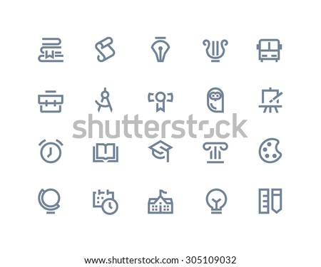 School and education icons. Line series - stock vector
