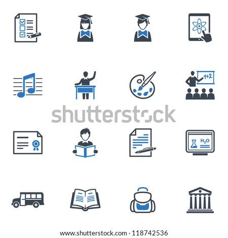 School and Education Icons Set 2 - Blue Series - stock vector