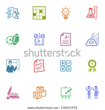School and Education Icons - Set 4 | Colored Series - stock vector