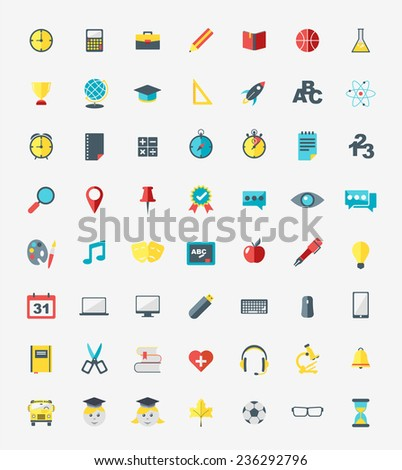 School and education icons set in flat design style - stock vector
