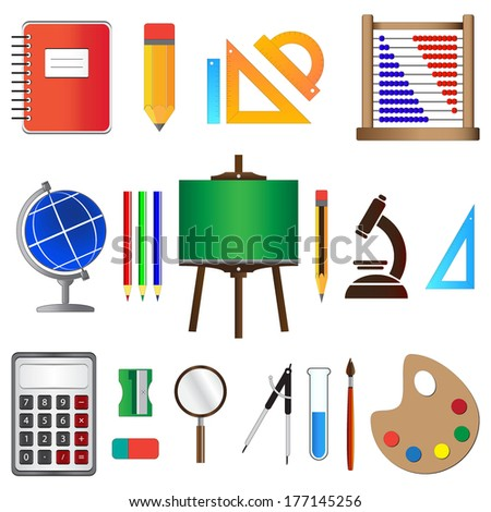School and education icons set, isolated on white background, vector illustration. - stock vector
