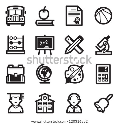 School and Education Icons - Simpla Series - stock vector