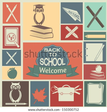 School and education icons. Vector set, EPS 8. - stock vector
