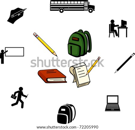 school and education illustrations and symbols set - stock vector