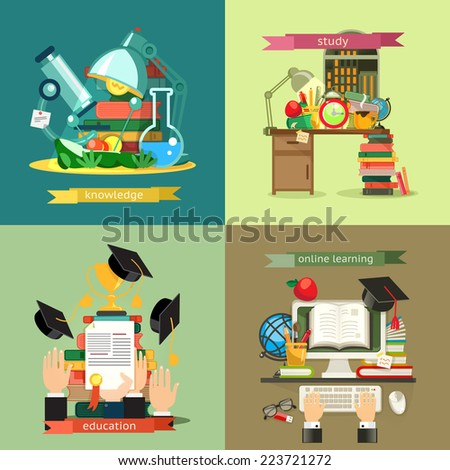 School and Education set, vector backgrounds flat design - stock vector