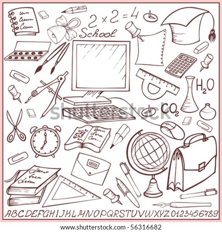 School and education sketch set (doodle) - stock vector