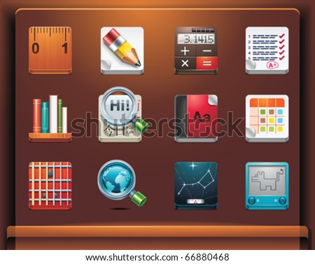 School and educational apps. Mobile devices apps/services icons. Part 12 of 12 - stock vector