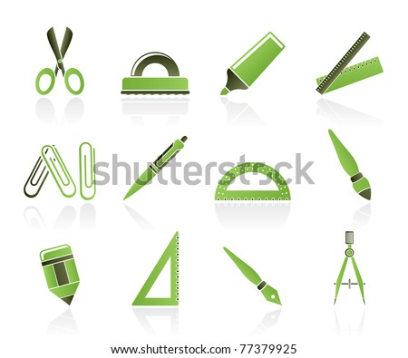 school and office tools icons- vector icon set - stock vector