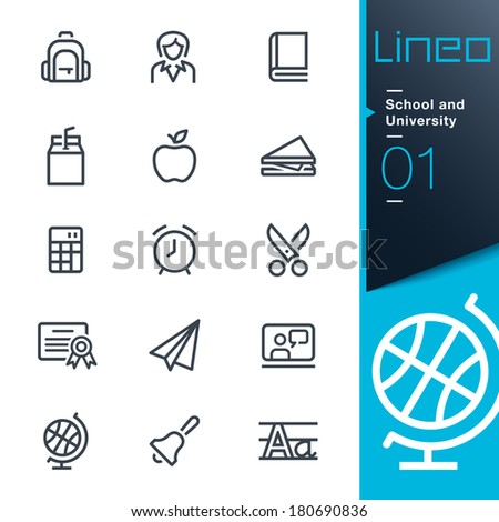 School and University outline icons - stock vector