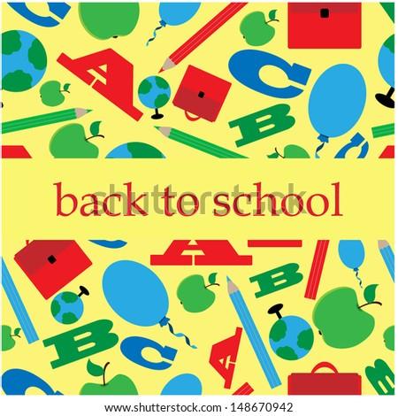 school background.background with school supplies.vector - stock vector