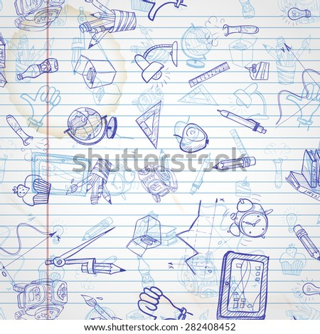 School Background Of School Supplies. Vector illustration. Eps 10 - stock vector