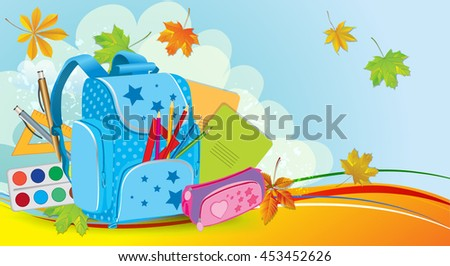 School background with backpack and autumn leaves - stock vector