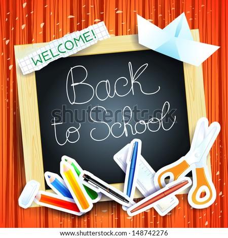School background with blackboard, vector - stock vector