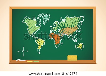 school background with geography map drawing on blackboard, vector - stock vector