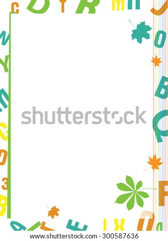 School background with letters - stock vector