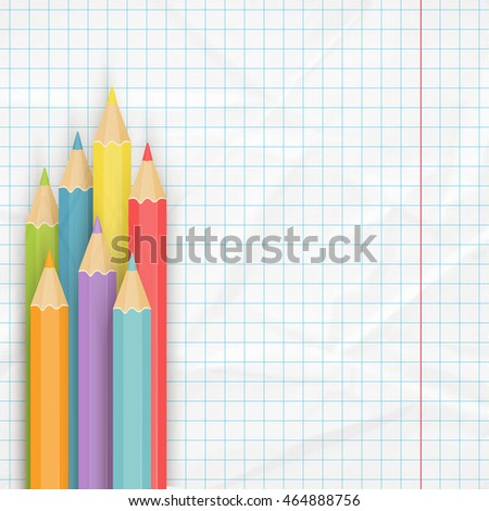 School background with multicolored pencils on the crumpled notepaper. Vector illustration.