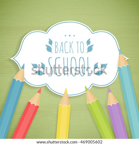 School background with paper frame and pencils on the wood texture. Vector illustration.