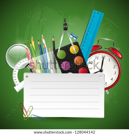 School background with supplies and place for your text - stock vector