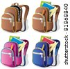 School Backpack: A school backpack in 4 different versions. No transparency used. Basic (linear) gradients. - stock photo
