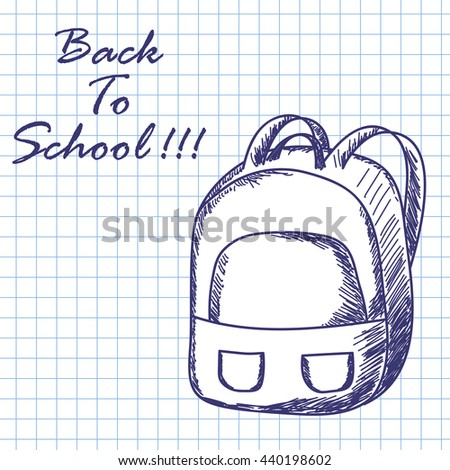 School backpack. Doodle sketch on checkered paper background. Vector illustration. - stock vector