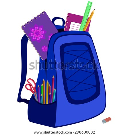 school bag packed with notebooks, pencils, scissors, ruler and eraser on white - stock vector