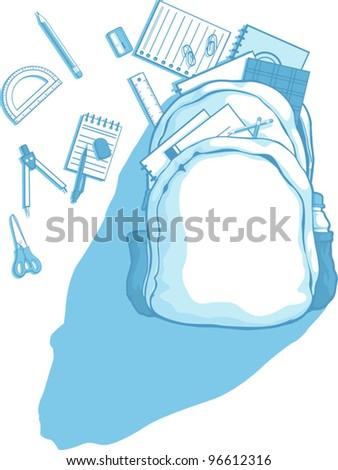 School Bag with School Supplies Scattered Around - stock vector