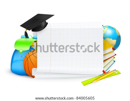 School banner, vector - stock vector