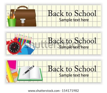 School banners with various school supplies on the  paper background  - stock vector