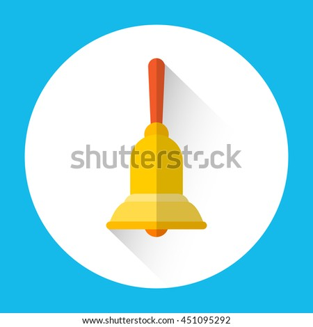 School Bell Colorful Icon Flat Vector Illustration