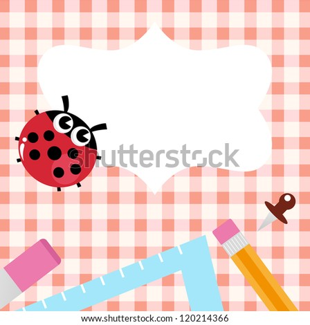 School blank banner with Ladybug and accessories - stock vector