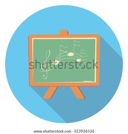 school board flat icon in circle - stock vector