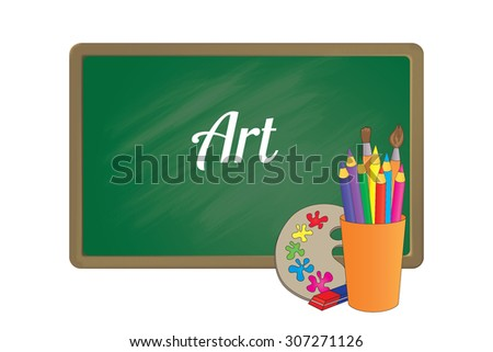 School board with an inscription and a set of accessories for a lesson of Art - stock vector