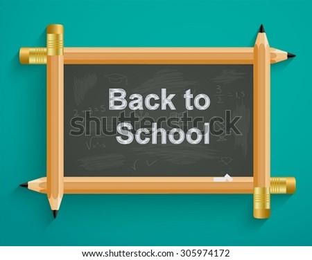 School board with pencils, back to school - stock vector