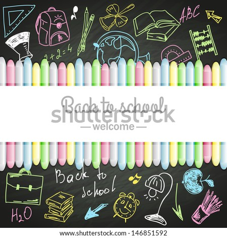 school boards and colored chalks - stock vector