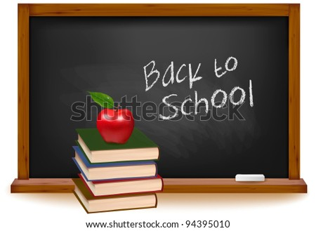 School books with apple on desk. School board background. Vector. - stock vector