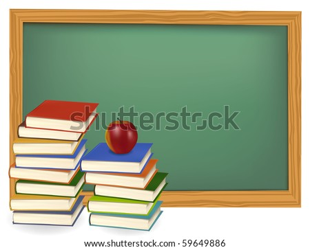 School books with apples on the desk. Vector. - stock vector