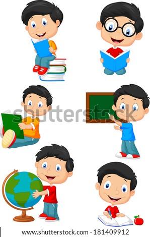 School boy cartoon character collection set - stock vector