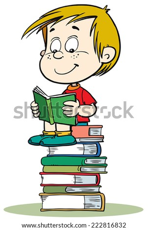 School boy with a big pile of books - stock vector