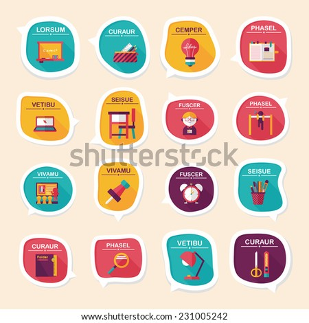 School bubble speech banner design flat background set, eps10 - stock vector