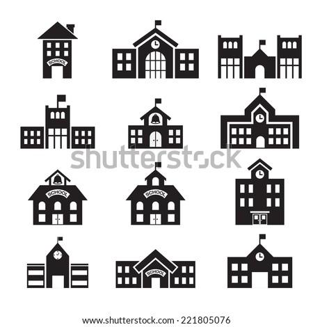 school building icon - stock vector