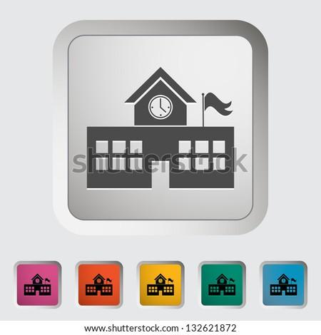 School building. Single icon. Vector illustration. - stock vector