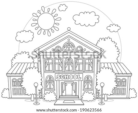 school building surrounded by trees - stock vector