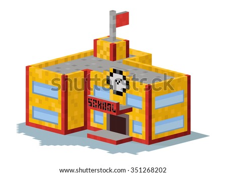 School building vector illustration. 3d school building isolated on white background. School or university building. Hight school building, school vector, school building. 3d isometric view building - stock vector