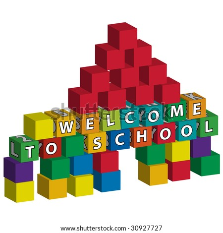 """School built of toy blocks with the inscription """"welcome to school"""" - stock vector"""