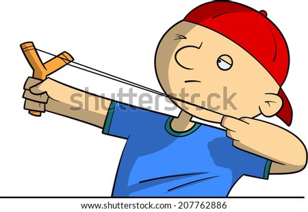 School bully with a slingshot - stock vector