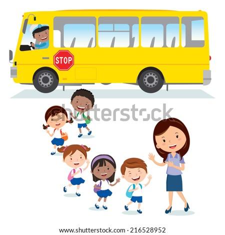 School bus. Back to school. Cheerful Teacher waving to the school kids. - stock vector