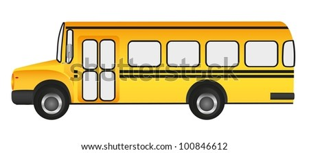 school bus, grass background, vector illustration - stock vector