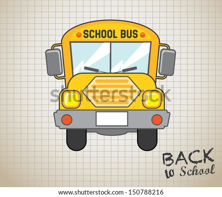 school bus icon over grid background vector illustration  - stock vector
