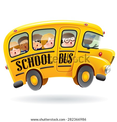 School bus. Kids riding on school bus. - stock vector